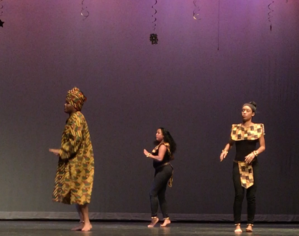 "Freedom! Sophomores Amani Boyd, D'lijah Ellis, and Shawnie Green dance to their West African song about freedom at the dance recital on May 5th. ""I was the most nervous about performing the African dance; it took us a very long time to put it together to get it RIGHT! I was so anxious about it I was counting out loud on stage to make sure that we'd stay together,"" commented Green."